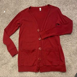 America Apparel Red Cardigan